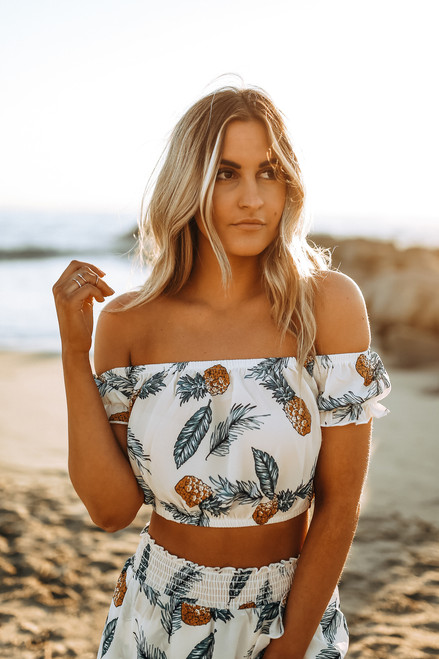 Off the Shoulder Pineapple Crop Top - Ivory Multi