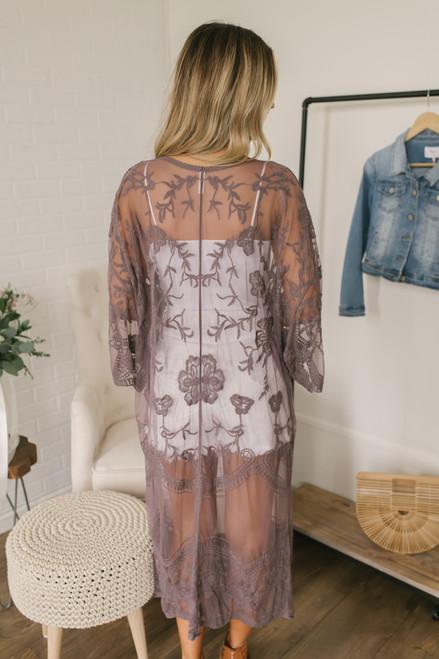 Scalloped Lace Duster Kimono - Midnight Lavender