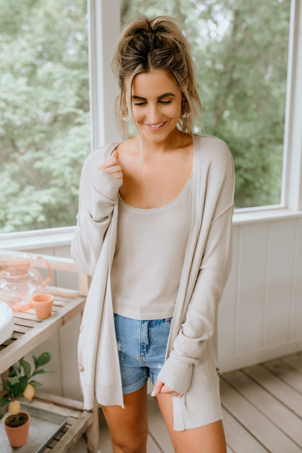 Business as Usual Cardi Set - Taupe