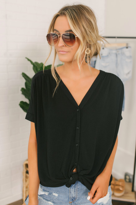 Homebound Button Down Knot Top - Black