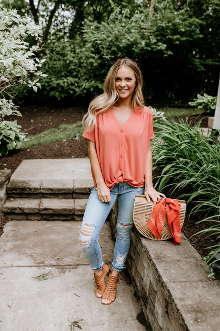 Homebound Button Down Knot Top - Burnt Coral - FINAL SALE