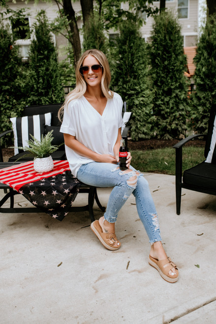 Homebound Button Down Knot Top - Ivory