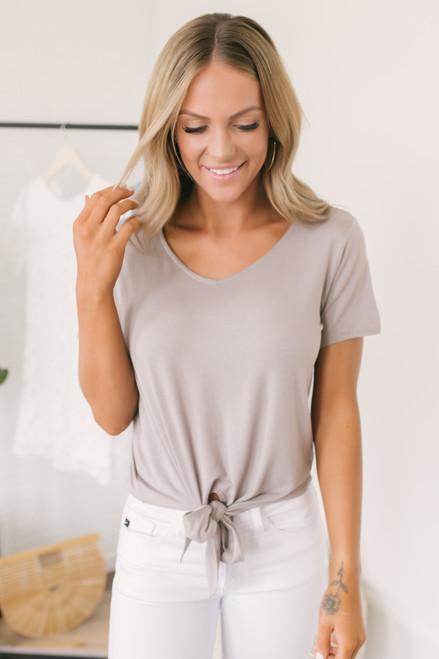 V-Neck Soft Knit Knot Tee - Mocha Grey  - FINAL SALE