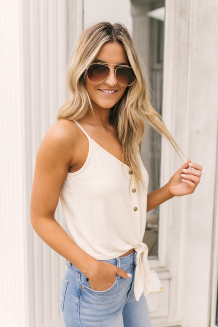 Button Down Knot Tank - Cream- FINAL SALE