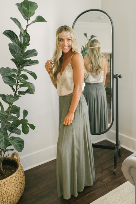 Napa Valley Maxi Skirt - Olive - FINAL SALE