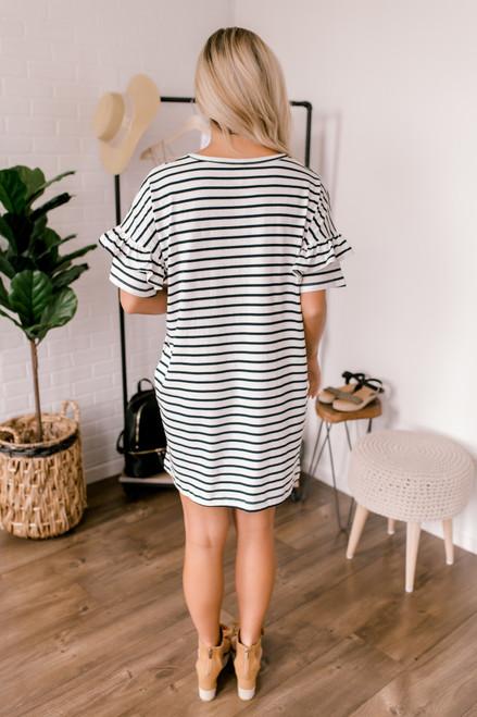 Ruffle Sleeve Striped T-Shirt Dress - White/Navy