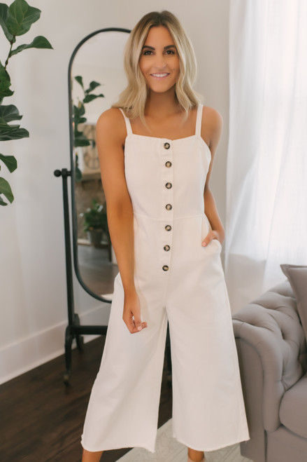 Button Down Overall Jumpsuit - Ivory  - FINAL SALE