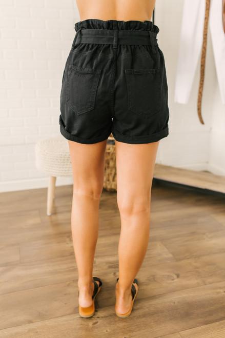 Paperbag Cuffed Denim Shorts - Black