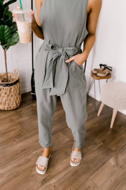 Mainland Tie Waist Overall Jumpsuit - Olive - FINAL SALE