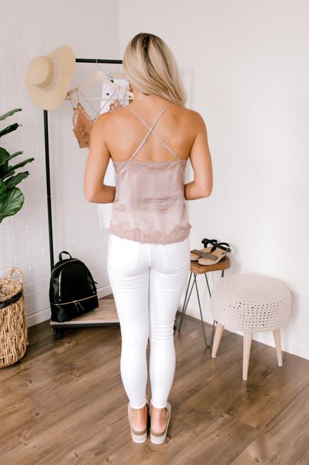 Button Down Lace  Camisole Tank - Mink