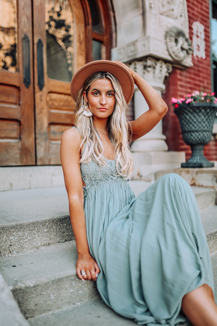 Savannah Breeze Crochet Detail Maxi - Dusty Sage - FINAL SALE
