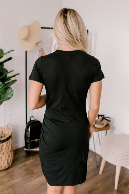 Elodie Ruched Detail T-Shirt Dress - Black  - FINAL SALE