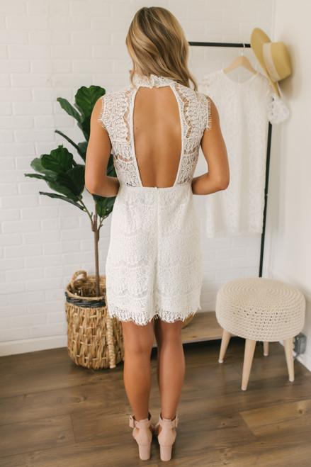 Mock Neck Open Back Lace Dress - Ivory