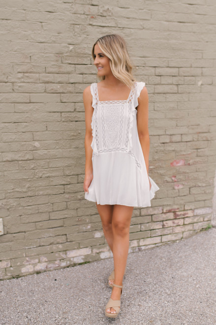 Primrose Crochet Detailed Shift Dress - White - FINAL SALE