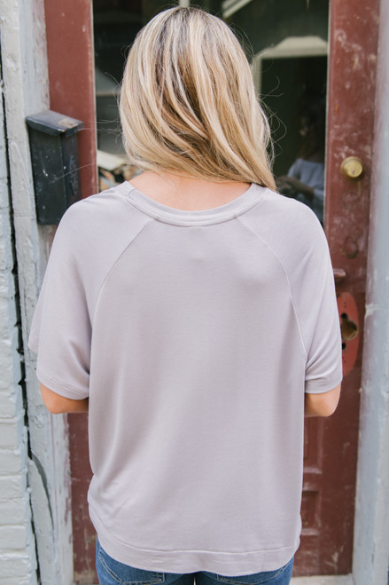 Soft Knit Twisted Hem Terry Tee - Silver Grey