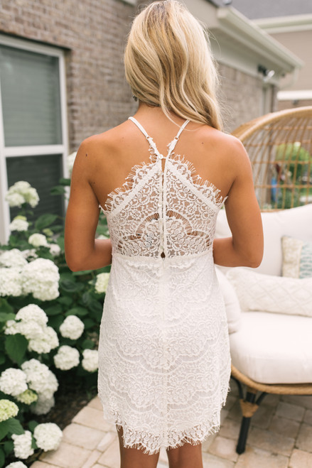 Halter Neck Scalloped Lace Dress - Ivory