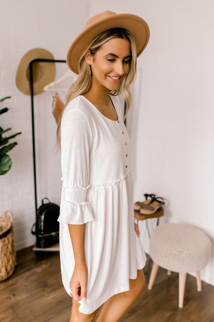 Ribbed Knit Henley Babydoll Dress - Ivory  - FINAL SALE