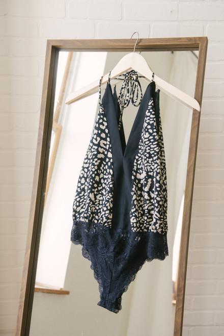 Deep V-Neck Halter Leopard Bodysuit - Navy/Grey