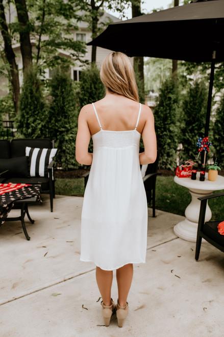 Tie Knot Button Down Midi Dress - White - FINAL SALE