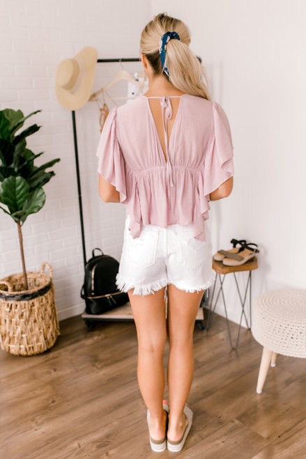 Flounce Sleeve Button Down Top - Peony Pink - FINAL SALE