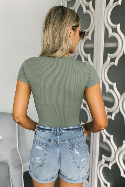Square Neck Ribbed Knit Bodysuit - Olive