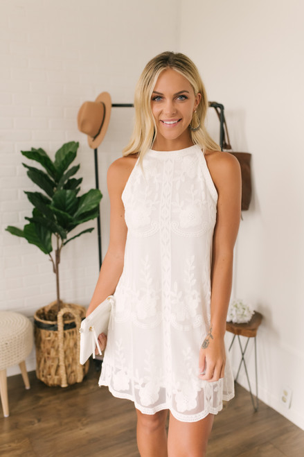 Final Rose Halter Embroidered Lace Dress - White