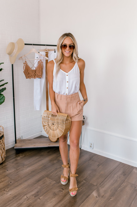 High Waisted Pleated Shorts - Wood Rose  - FINAL SALE