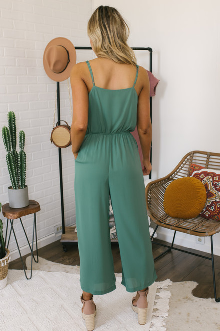Summer Fling Surplice Crop Jumpsuit - Peppermint - FINAL SALE