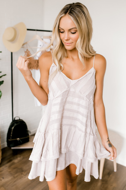 V-Neck Raw Detail Tiered Dress - Lilac Champagne  - FINAL SALE