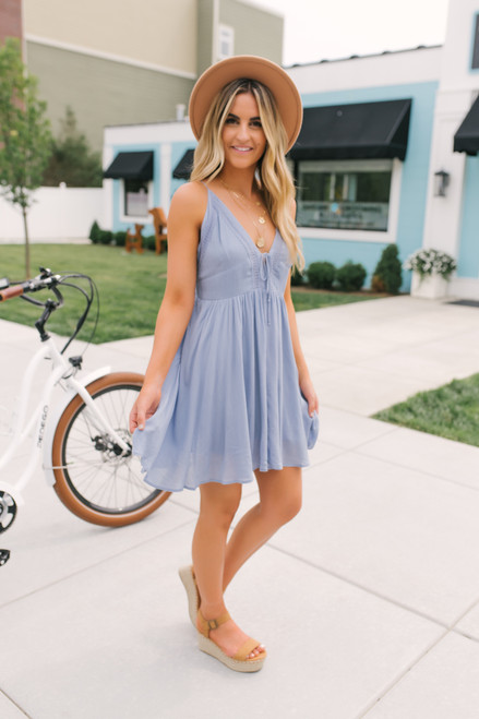 V-Neck Tie Front Crochet Detail Dress - Light Blue  - FINAL SALE