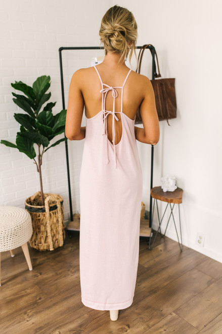 90's Baby Halter Slit Maxi - Heather Blush