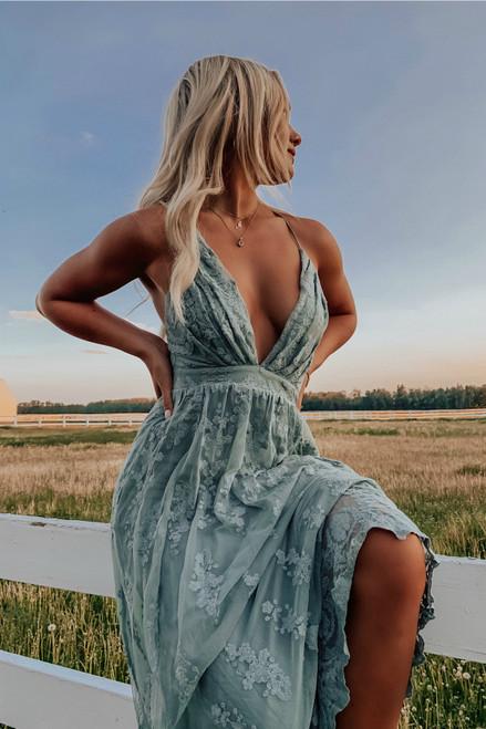 Fields of Tuscany Lace Maxi - Dusty Jade