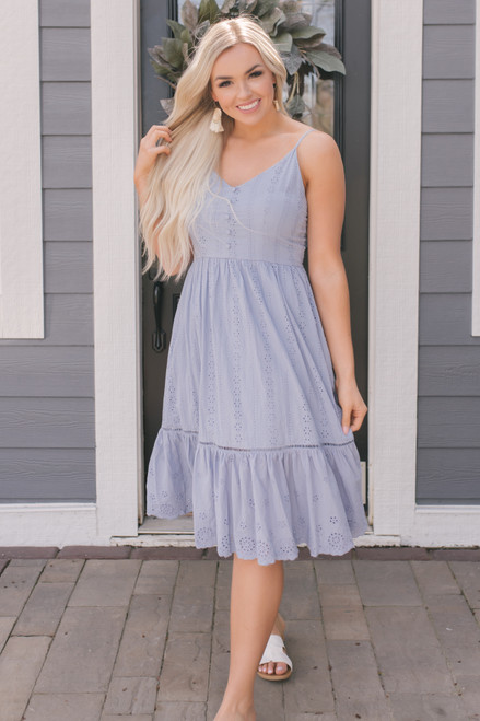 Button Detail Eyelet Midi Dress - Chambray Blue