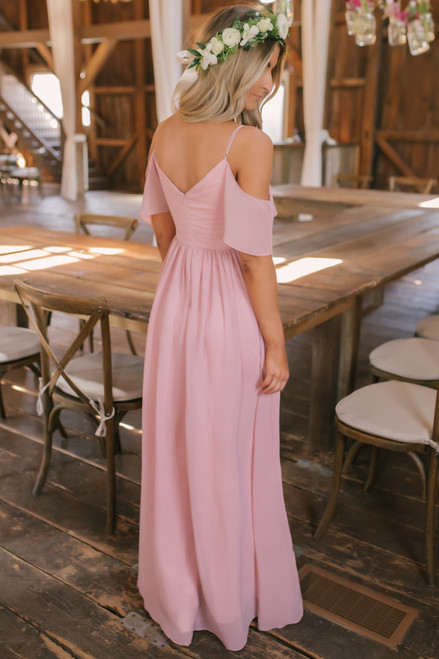 Ever After Cold Shoulder Chiffon Maxi - Dusty Rose