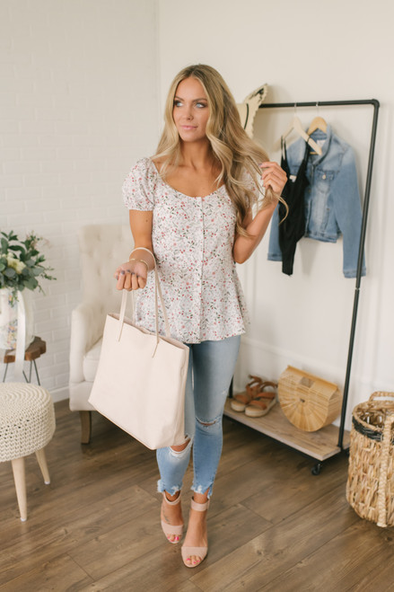 Countryside Garden Button Down Floral Top - White Multi - FINAL SALE