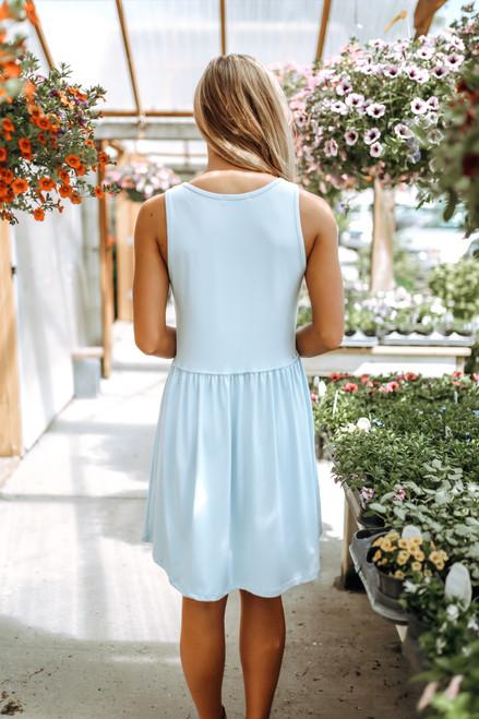 Tropical Waves Babydoll Dress - Carolina Blue