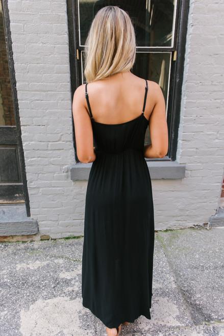 Audrey Surplice High Low Maxi Dress - Black