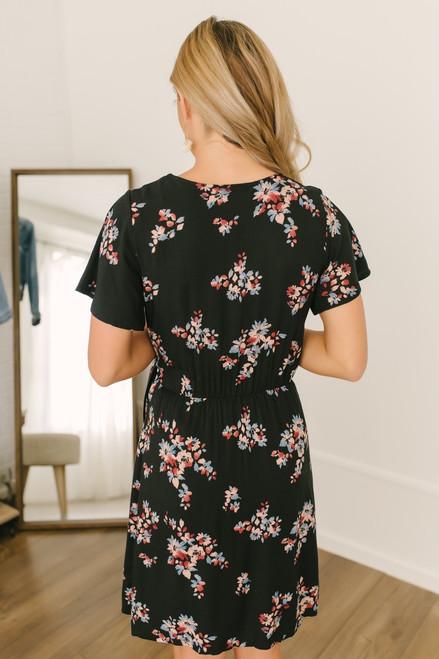 Short Sleeve Faux Wrap Floral Dress - Black Multi