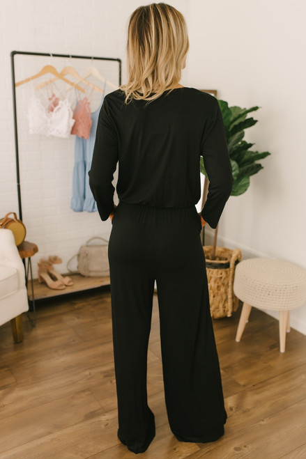 Long Sleeve Surplice Pocket Jumpsuit - Black  - FINAL SALE