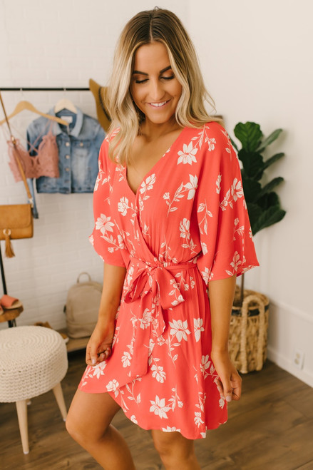 Kimono Sleeve Faux Wrap Floral Dress - Red/White