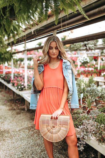 Tropical Waves Babydoll Dress - Neon Orange