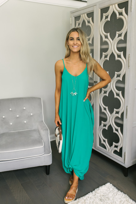 West Coast V-Neck Pocket Maxi - Kelly Green