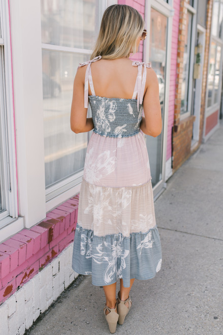 Floral Colorblock Smocked Midi Dress - Sea Pine/Blush/Taupe