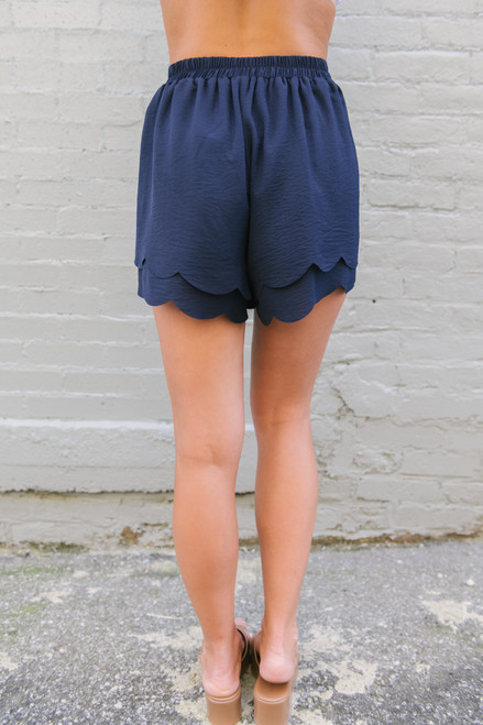 Tie Front Double Scalloped Shorts - Navy - FINAL SALE