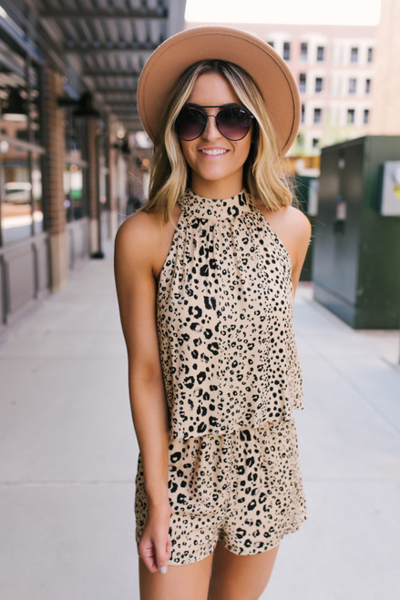 High Neck Overlay Cheetah Romper - Taupe/Black
