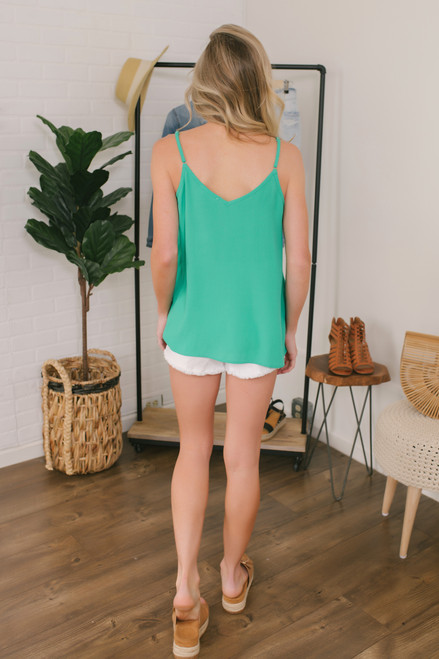 Stealing Your Heart V-Neck Tank - Kelly Green - FINAL SALE