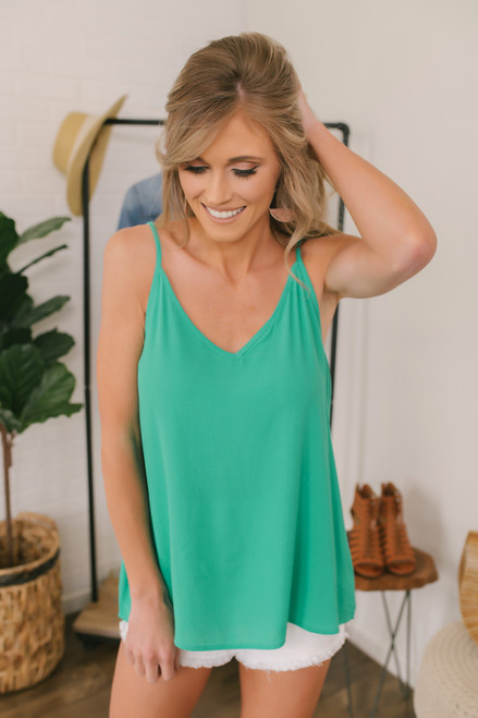Stealing Your Heart V-Neck Tank - Kelly Green