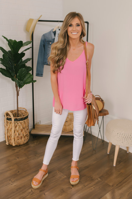 Stealing Your Heart V-Neck Tank - Hot Pink