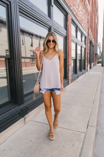 Stealing Your Heart V-Neck Tank - Taupe Grey