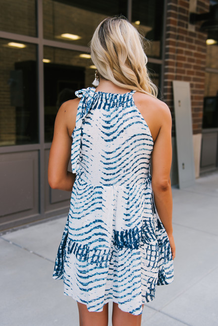 Halter Neck Tiered Printed Dress - White/Navy - FINAL SALE